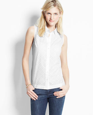 Laser Cut Cotton Sleeveless Shirt