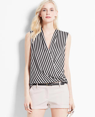 Striped Sleeveless Wrap Blouse