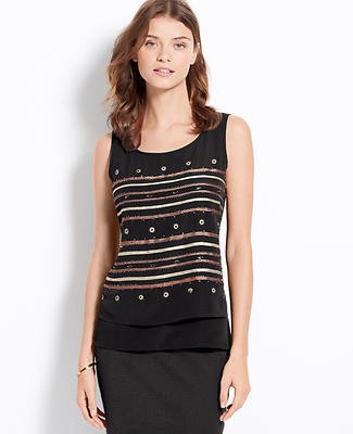 Embellished Stripe Layered Shell