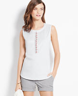 Embellished Cotton Sateen Shell
