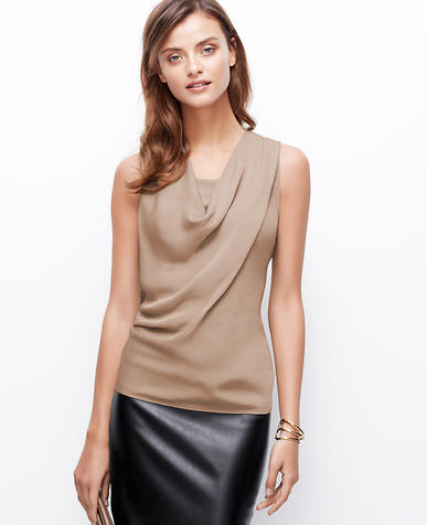 Image of Woven Front Cowl Neck Top