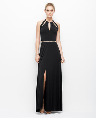Satin Jersey Chain Halter Gown