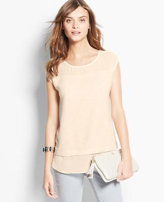 Mixed Media Shirttail Hem Top