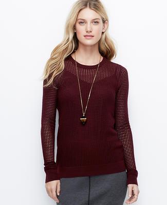 Merino Wool Blend Mesh Sweater