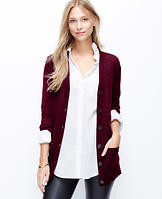 Faux Leather Elbow Patch Merino Wool Cardigan