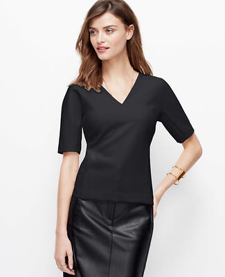 Seamed Crepe Short Sleeve Top