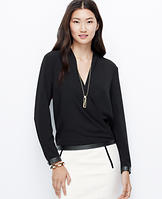 Faux Leather Trim Crepe Blouse