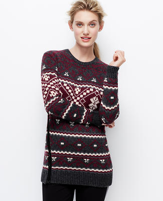 Snowflake Side-Zip Sweater