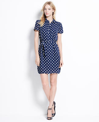 Polka Dot Short Sleeve Shirtdress
