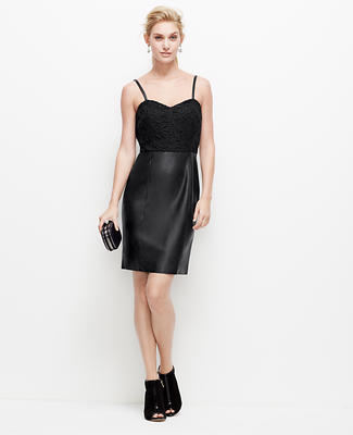 Faux Leather and Lace Strappy Dress