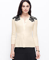 Lace Applique 3/4 Sleeve Cardigan