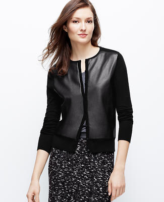 Faux Leather Front Ann Cardigan