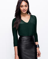 Faux Leather Trim Silk Tunic