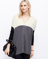 Colorblock V-Neck Tunic Sweater