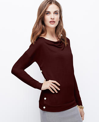 Side Button Sweater Jersey Top