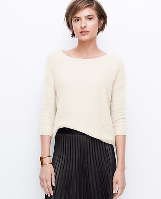 Petite Textured Drop Shoulder Cropped Sweater