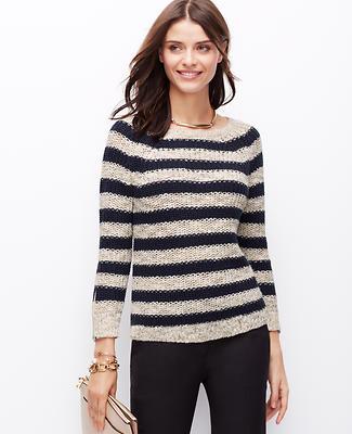 Striped Zip Cuff Sweater
