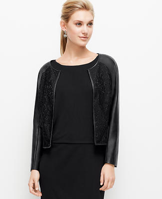 Faux Leather and Lace Jacket