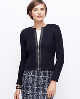 Faux Leather Trim Sweater Jacket