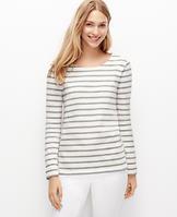 Stripe Shoulder Zip Cotton Top