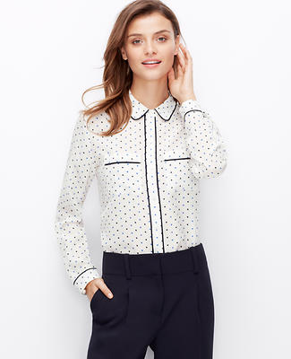 Dashed Dot Silk Blouse