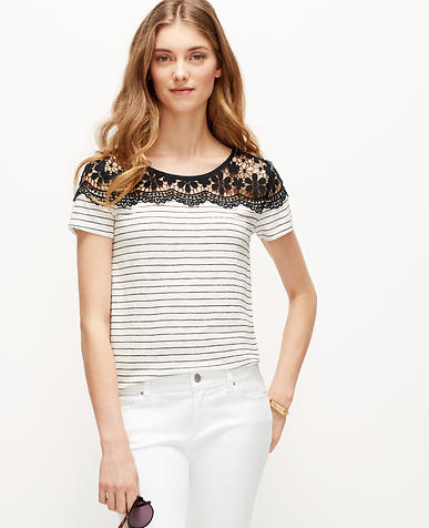 Image of Striped Lace Yoke Tee