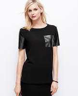 Faux Leather Sleeve Tee
