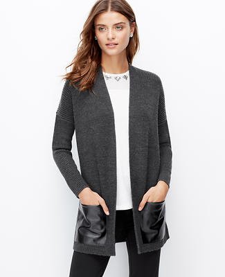 Faux Leather Pocket Open Cardigan