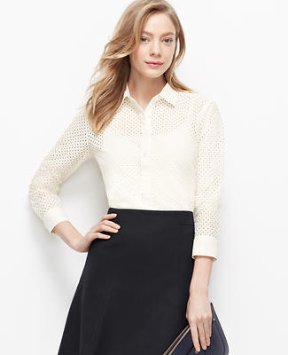 Eyelet Perfect Button Down Shirt
