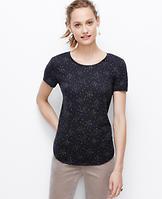 Star Print Shirttail Hem Tee