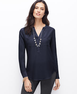 Split Neck Silk Tunic