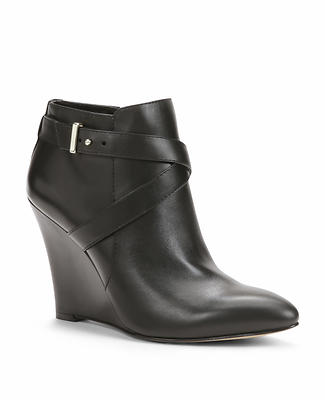 Edna Leather Wedge Booties