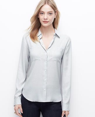 Dashed Crepe Button Down Shirt
