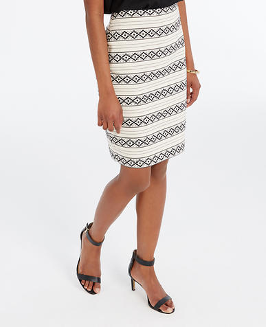 Image of Embroidered Stripe Pencil Skirt