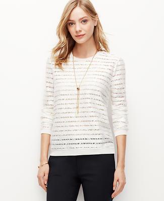Lace Striped Sweatshirt