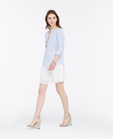 Image of Striped Linen Split Neck Tunic