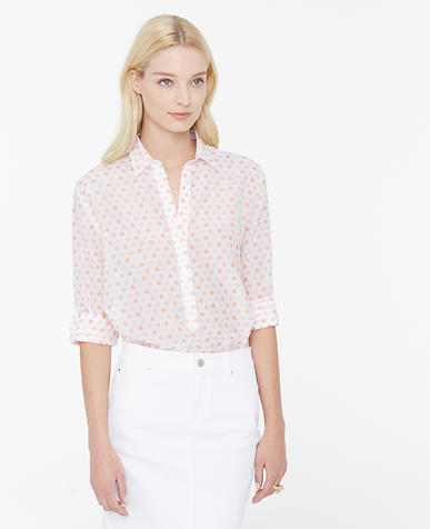 Image of Floral Stamp Silky Shirt