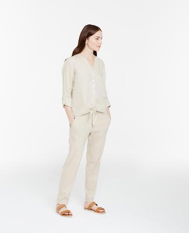 Image of Linen Tie Front Shirt