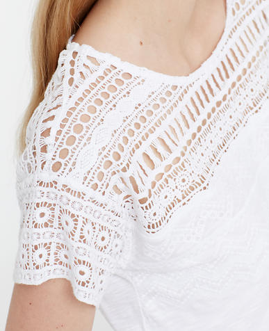 Image of Petite Embroidered Crochet Tee