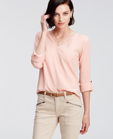 Image of Crepe V-Neck Blouse