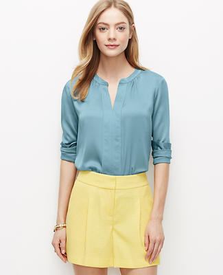 Crepe Shirred Popover Shirt