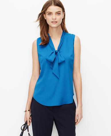 Image of Petite Crepe Tie Neck Shell