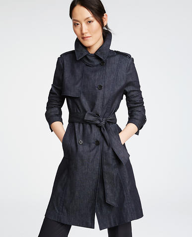 Image of Petite Refined Denim Trench