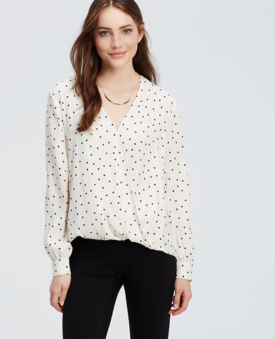 Image of Dot Wrap Blouse