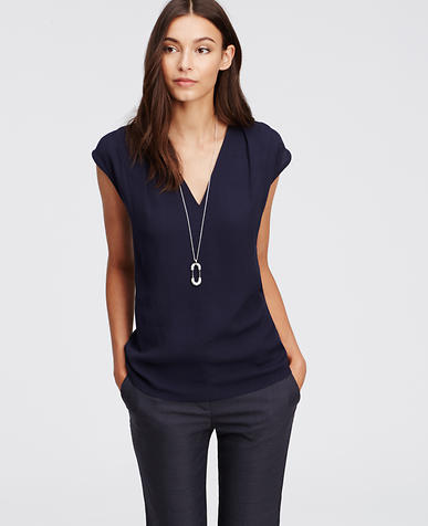 Image of Pleated Cap Sleeve Top