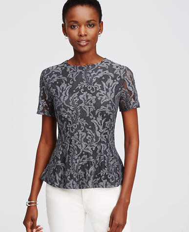 Image of Heathered Lace Peplum Top