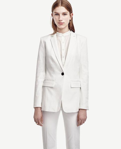 Cotton Blend One Button Jacket