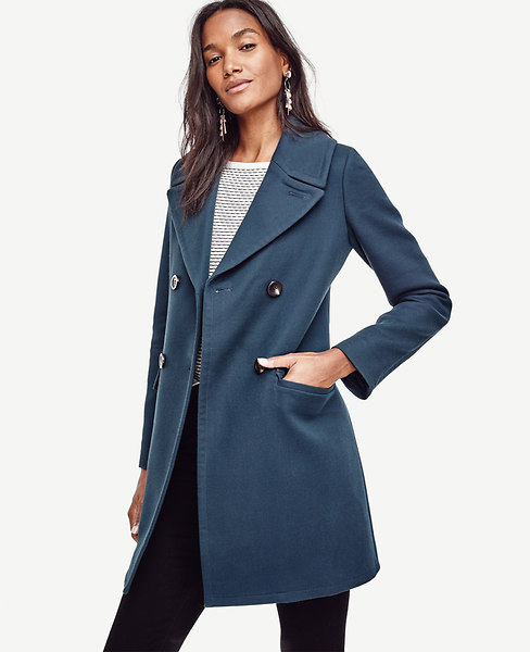Ann Taylor Cotton Twill Double Breasted Coat