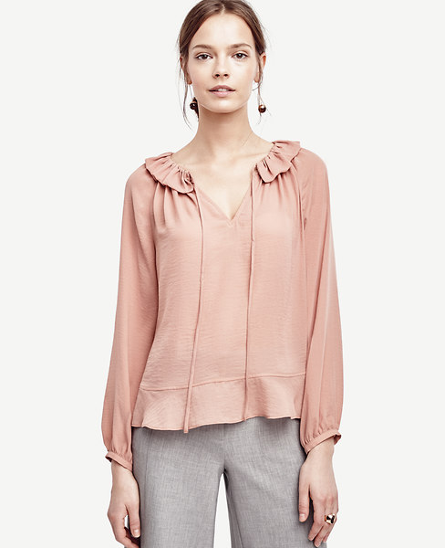 Tie Front Ruffle Neck Blouse