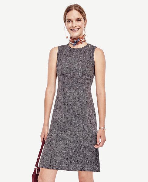 Tweed Seamed Shift Dress